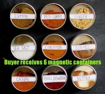 Ikea 6 Stainless Steel Magnetic Containers Spice Tins Jars Office Accessory Hold on eBay!