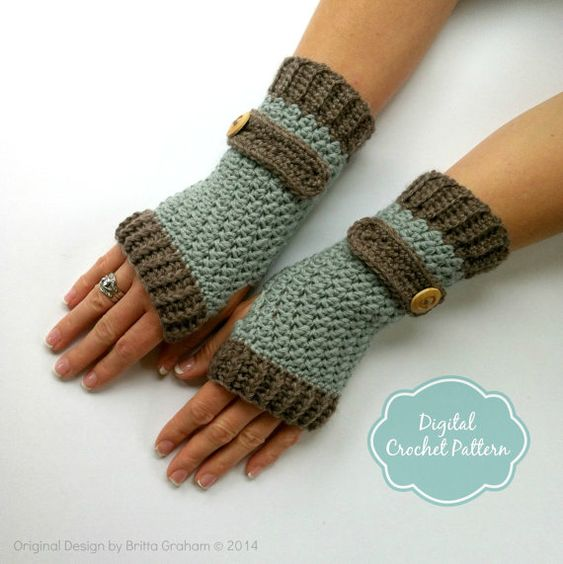 Crochet Patterns Dk Weight Yarn : Gloves Crochet Pattern No.916 Digital Download uses DK weight yarn ...