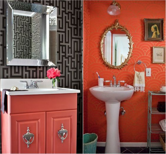 Coral red in washrooms with black wallpaper.