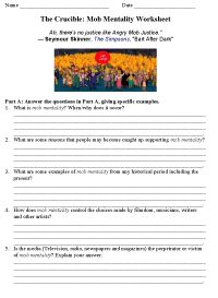The Crucible Mob Mentality Worksheet. One of 2 pages. http://www ...