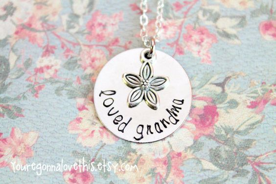 Gorgeous Loved Grandma Flower Hand Stamped by youregonnalovethis on Etsy Mother's Day Gift for Grandma