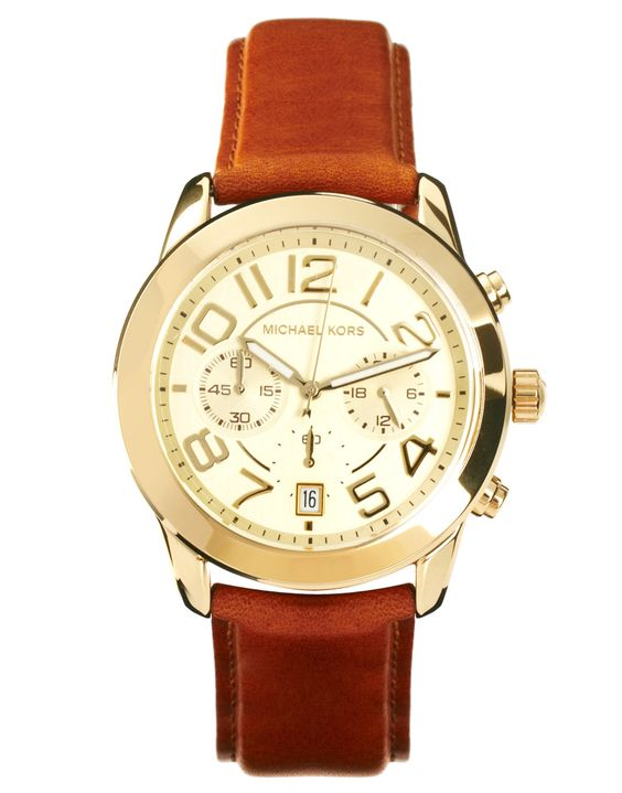 Tan Leather Strap Watch With Gold Chronograph Face