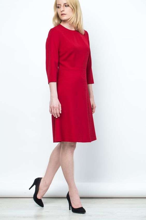 Czerwona Elegancka Sukienka Mod Dress Shift Dress Dresses