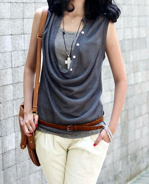 Stylish Draped Collar Solid Color Slimming T-Shirt Twinset For Women
