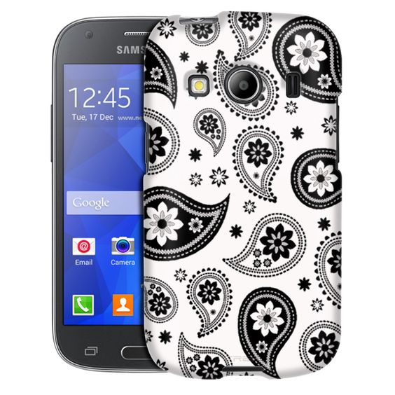 Samsung Galaxy Ace Style Paisleys Cute Black on White Case