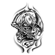 Black And White Grim Reaper Coming Out Of Flames Temporary Tattoo Reaper Tattoo Grim Reaper Tattoo Tattoos