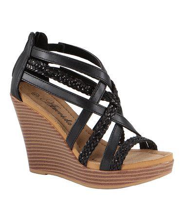Another great find on #zulily! Black Crisscross Wallie Wedge Sandal #zulilyfinds