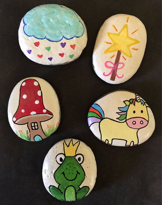 Kids love to use their imagination, which promotes thinking, creativity and speech. My story stones are painted rocks designed to fuel a childs imagination and creativity. They can use them to tell a story, pretend play, or carry around as pet rocks.  Story stones are great for group play as well. Each child can hold one stone, sit in a circle and take turns adding to the story using the picture on their rock. Encourages group participation, confidence and enhanced creativity.  With the many ...