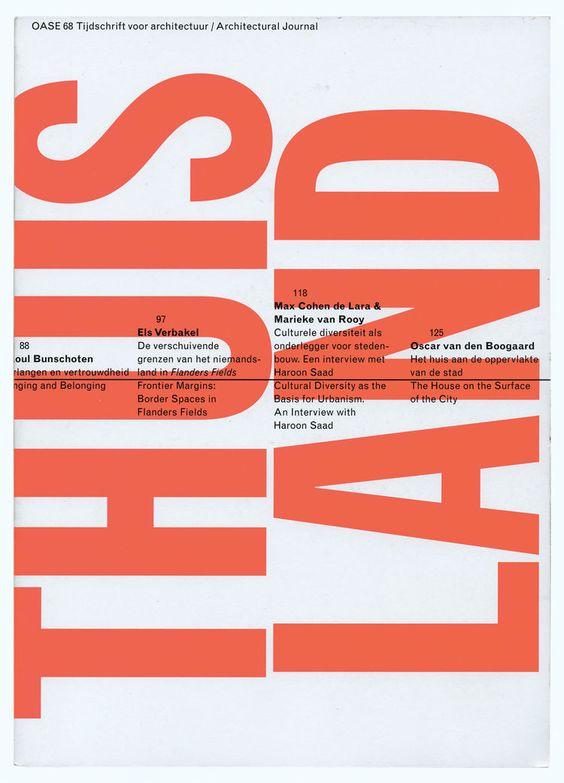 """""""OASE"""" ist ein unabhängiges, internationales Architekturmagazin, welches von Studenten der Uni Delft in den 80er Jahren gegründet wurde. Seit 1990 übernimmt Karl Martens die Gestaltung des Magazins, und beeindruckt meiner Meinung nach mit der Vielfältigkeit seiner Gestaltung und dem experimentellen Umgang mit  Typographie. Kein Cover gleicht dem Anderen. Ein späterer Schüler von Karl Martens war u.a. der Typedesigner Peter Bil'ak."""