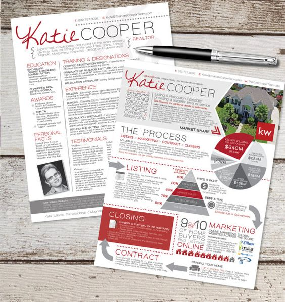 The Real Estate Resume  Info Graphic Template Design Combo