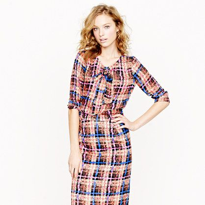 Collection bow blouse in electric plaid - When interviewing new employees, always look professional!