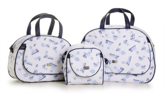 Kit Bolsas Maternidade Transporte Azul Fazendo Arte