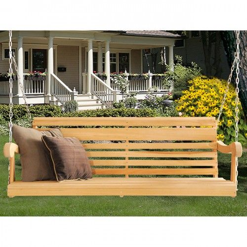 Hershyway Grandpa Series Classic 5ft Cypress Porch Swing Porch Swing Backyard Porch Wicker Porch Swing