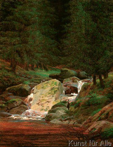 Caspar David Friedrich - Tannenwald mit Wasserfall