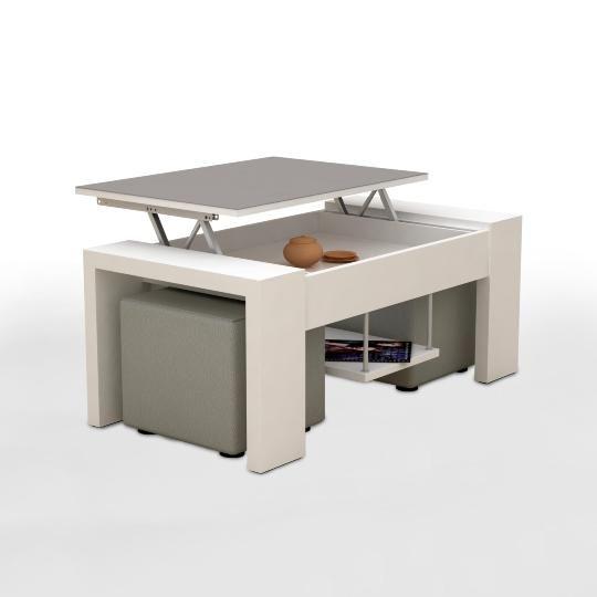 table basse relevable apollo blanc argent et 2 poufs. Black Bedroom Furniture Sets. Home Design Ideas