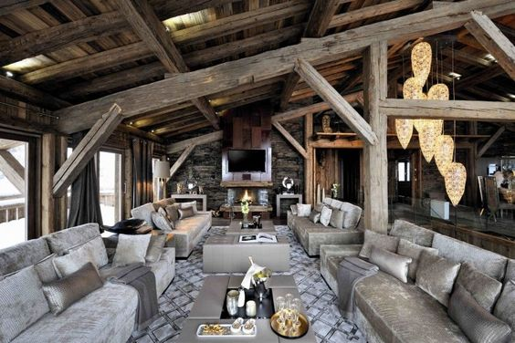D co int rieur style chalet id es pour atmosph re for Fou plafond deco