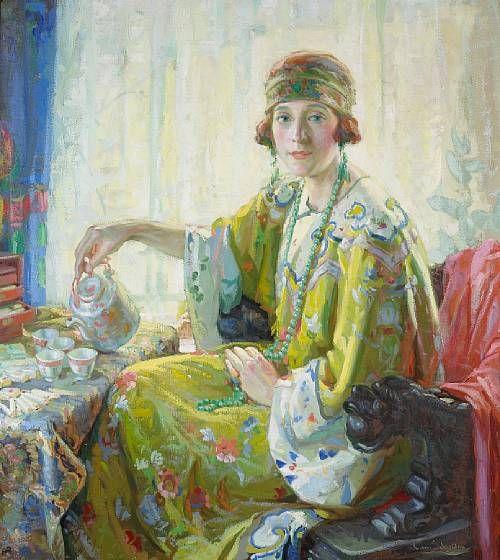 Five O'clock Tea (A Portrait of Mrs. Elwood Riggs) by Christian von Schneidau: