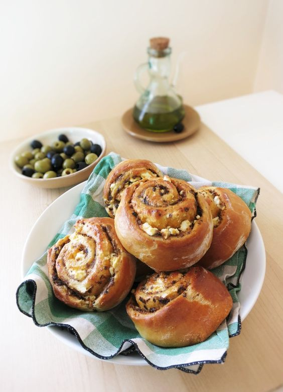 Olive, sundried tomato and feta rolls