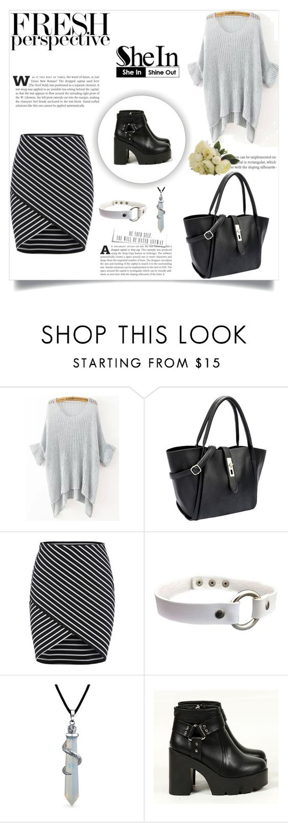 """Grey Loose Knit Sweater: SheIn"" by vicko-kk ❤ liked on Polyvore featuring Bling Jewelry and shein"