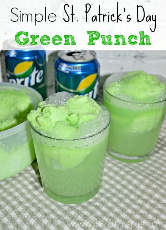 Simple green punch on St. Patrick's Day