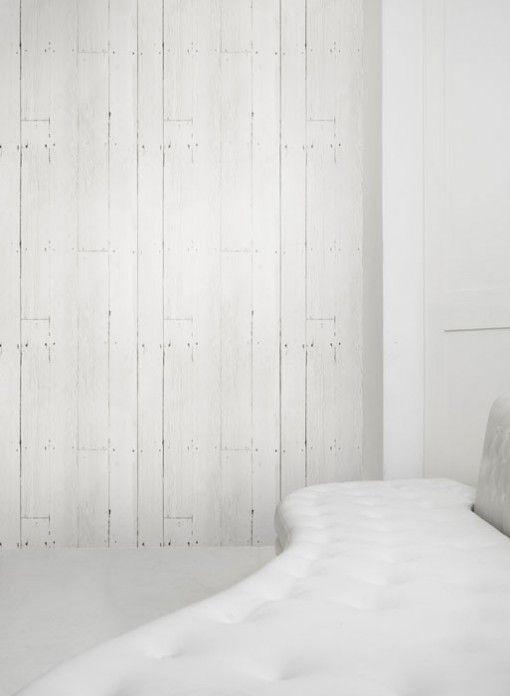 Papier-peint trompe l'oeil planches blanches par Studio Mold