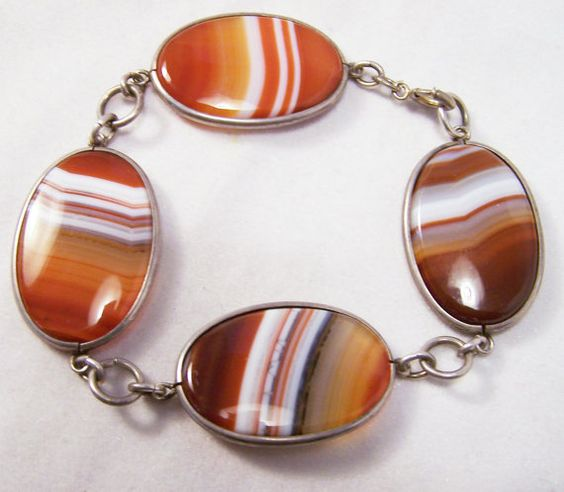 Art Deco Banded Agate Oval Stone 7 3/4 by GretelsTreasures on Etsy