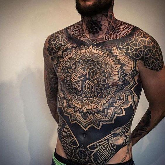 Geometric chest piece tattoo by Drew Romero #Tattoo #Geometric #Tattoo #Chest…