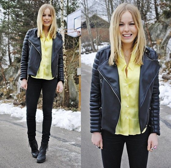 LEMON N BLACK (by Frida Johnson) http://lookbook.nu/look/3054685-LEMON-N-BLACK