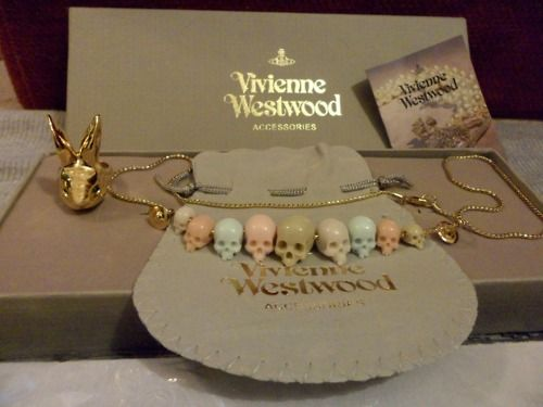 Vivienne Westwood skull bead necklace and ring.