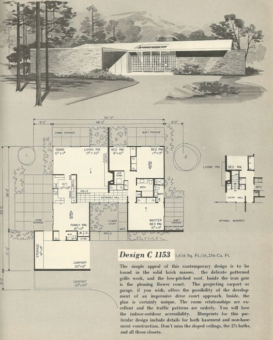 Design C 1153 Vintage house plans 1960s house plans Mid