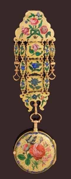 Très belle montre en or remarquablement émaillée signée AGERON à Paris, vers 1770. Elle porte le n° 362. Montre à sonnerie des heures et des quarts, le dos est émaillé d'une remarquable scène de roses et de boutons de roses avec un papillon des bleuets et des décors de rubans. La lunette avant est également émaillée de décors de fleurs et de rubans. Emaux champlevés. Le rehaut de cadran est finement ciselé et signé AGERON à 3heures. Le cadran est en émail, les aiguilles en laiton doré…