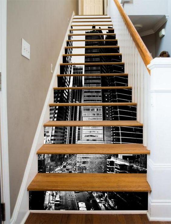 3D Black White City Stair Sticker Stair Risers PVC Sticker | Etsy
