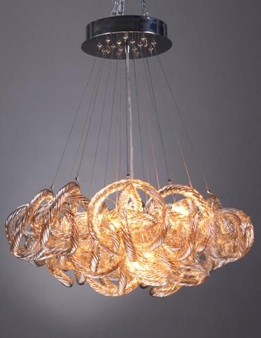 The Infinity fixture from Viz Glass is made of hand blown glass and is available in three colors – chrome, crystal and champagne. WTC 6/422. www.vizartglass.com