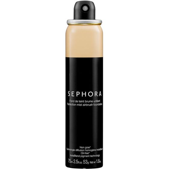 SEPHORA COLLECTION Perfection Mist Airbrush Foundation ($28) ❤ liked on Polyvore featuring beauty products, makeup, face makeup, foundation, cosmetics, paraben free foundation, mineral foundation, spray foundation, sephora collection and oil free foundation