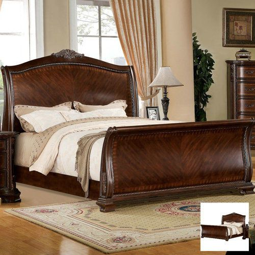 King-Size-Sleigh-Bed-Frame-French-Style-Curved-Wooden-Bedroom-Furniture-Cherry