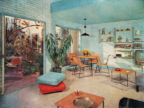 Midcentury modern retro vintage 50s 60s interior design decor furniture architecture tiffany - Retro interior design ...