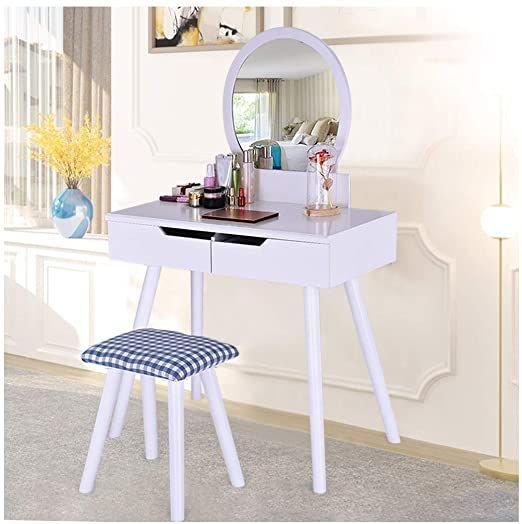 Vanity Table Set With Round Mirror And Cushioned Dressing Stool 2 Large Sliding Drawers Vanities Benches Makeup In 2020 Vanity Table Set Dressing Stool Vanity Table