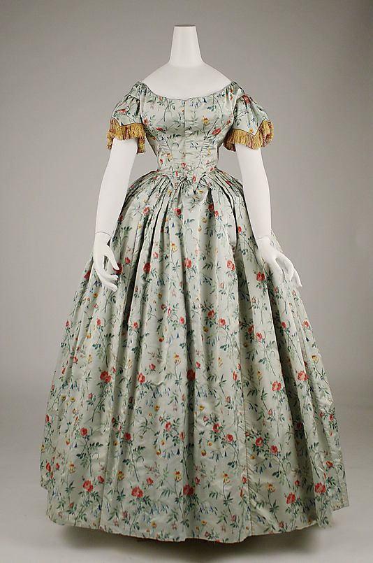 Evening dress Date: 1850s Culture: French Medium: silk Dimensions: Length (from shoulder): 55 3/8 in. (140.7 cm) Credit Line: Gift of Mrs. Stirling S. Adams, 1978 Accession Number: 1978.310.1: