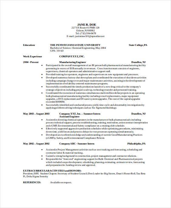 chemical engineer resume template free word pdf documents sample - engineer resume template
