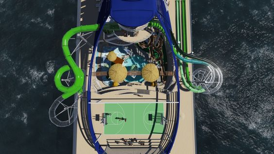 """The MSC Seaside introduces some new """"firsts,"""" besides traditional favorites. She'll have one of the largest interactive aqua parks found at sea. #cruise #waterpark #grouptravel #leisuretravel"""