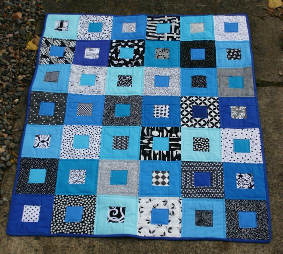 Black White and Blue quilt, Cath Hall