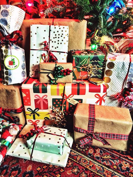 Presents wrapped under the tree: