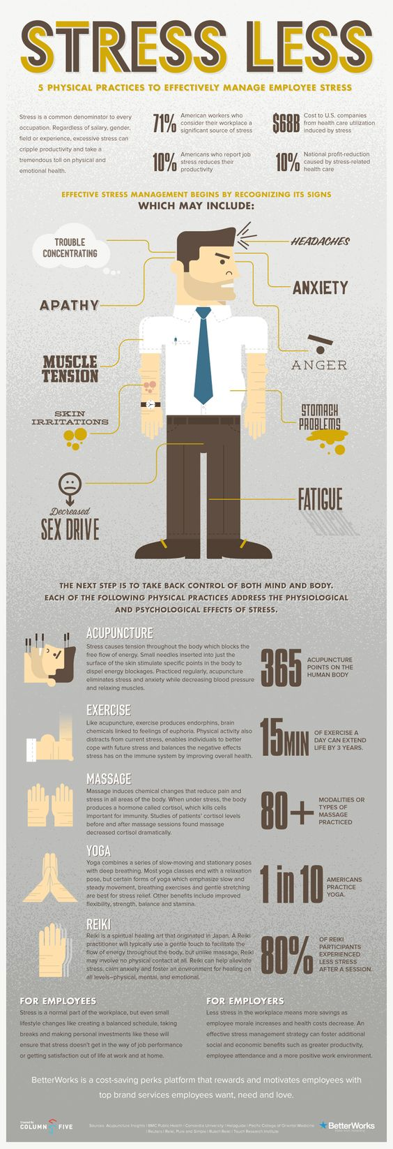Stress less:  Five physical practices to effectively manage employee stress.  #infographic