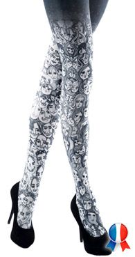 Collant fantaisie noir et blanc : y a du people sur mes jambes ! Est-ce qu'on se sent moins seule avec ce collant ? A n'en pas douter !