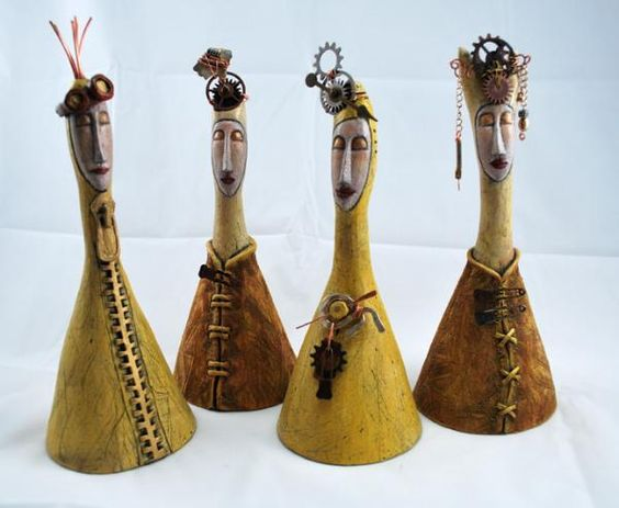 Julia Speer, Ceramic Sculptor: Steampunk Series. Handbuilt ceramic clay bells with copper embellishments: