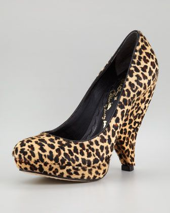 Robyn Leopard-Print Calf Hair Pump by Alice + Olivia