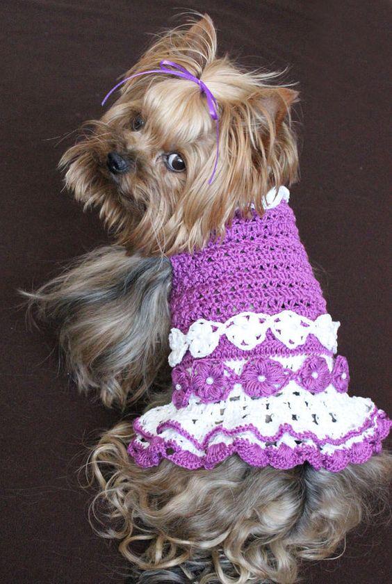 Purple And White Crochet Dog Dress Size Small Dog