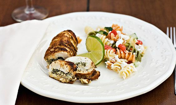 e.g. as a yummy suprise on mother's day: chicken breast filled with bear's garlic, goat cheese or feta