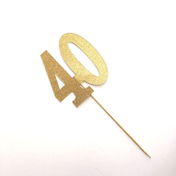 Large #40 Gold Glitter Birthday Cake Topper, 40th Birthday, Forty topper, $15.00