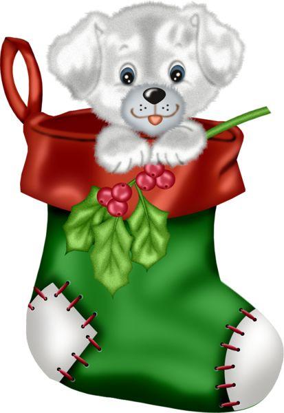 Christmas green stocking with puppy png clipart cartoon - Calcetin de navidad ...